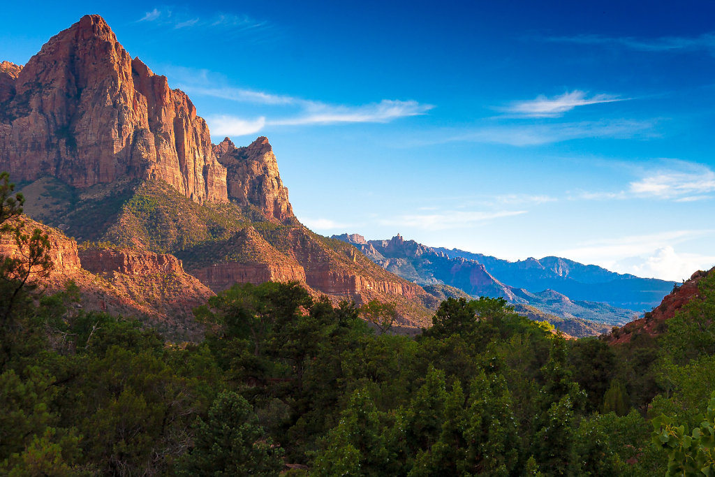 Mountain at sunset at Zion Canyon National Park